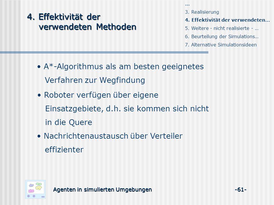 Agenten in simulierten Umgebungen -61- A*-Algorithmus als am besten geeignetes Verfahren zur Wegfindung … 3.