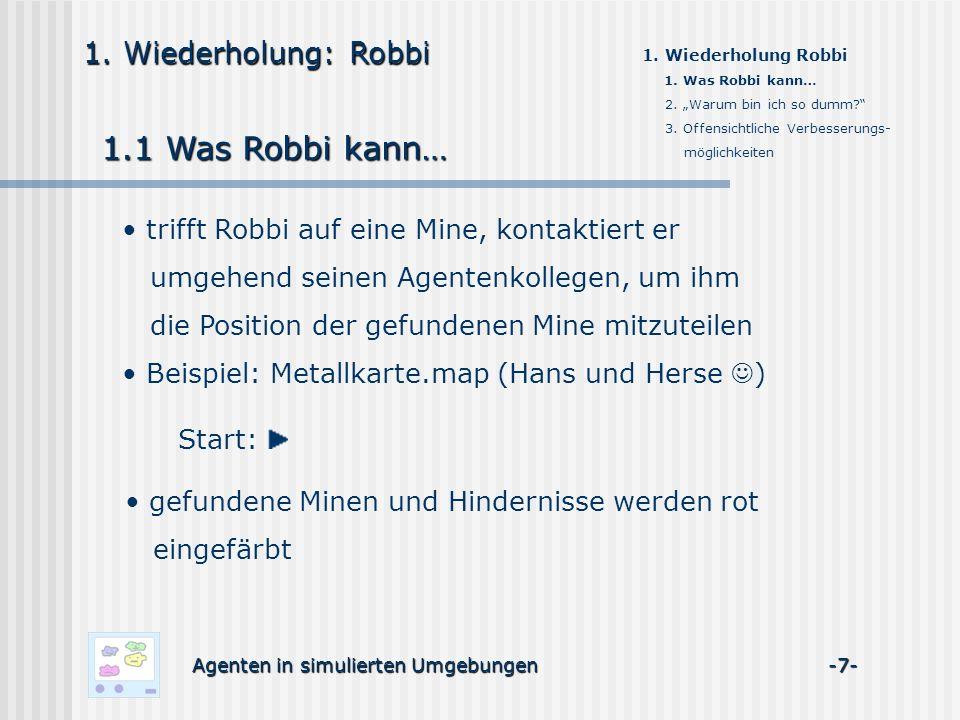 1. Wiederholung: Robbi 1.1 Was Robbi kann… 1. Wiederholung Robbi 1. Was Robbi kann… 2. Warum bin ich so dumm? 3. Offensichtliche Verbesserungs- möglic