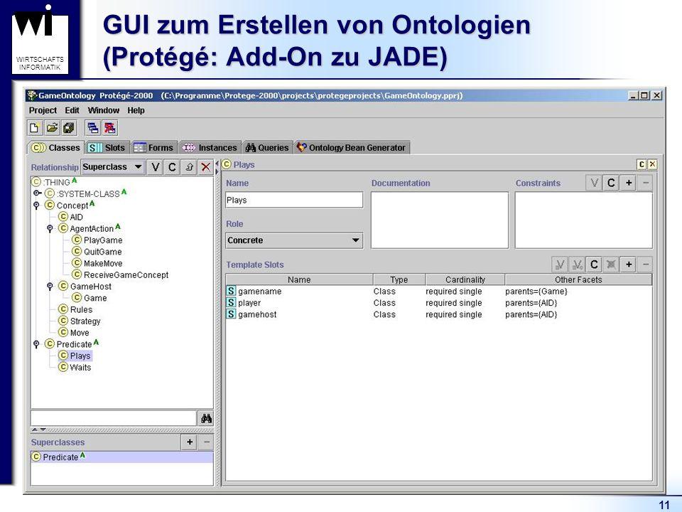 11 WIRTSCHAFTS INFORMATIK GUI zum Erstellen von Ontologien (Protégé: Add-On zu JADE)
