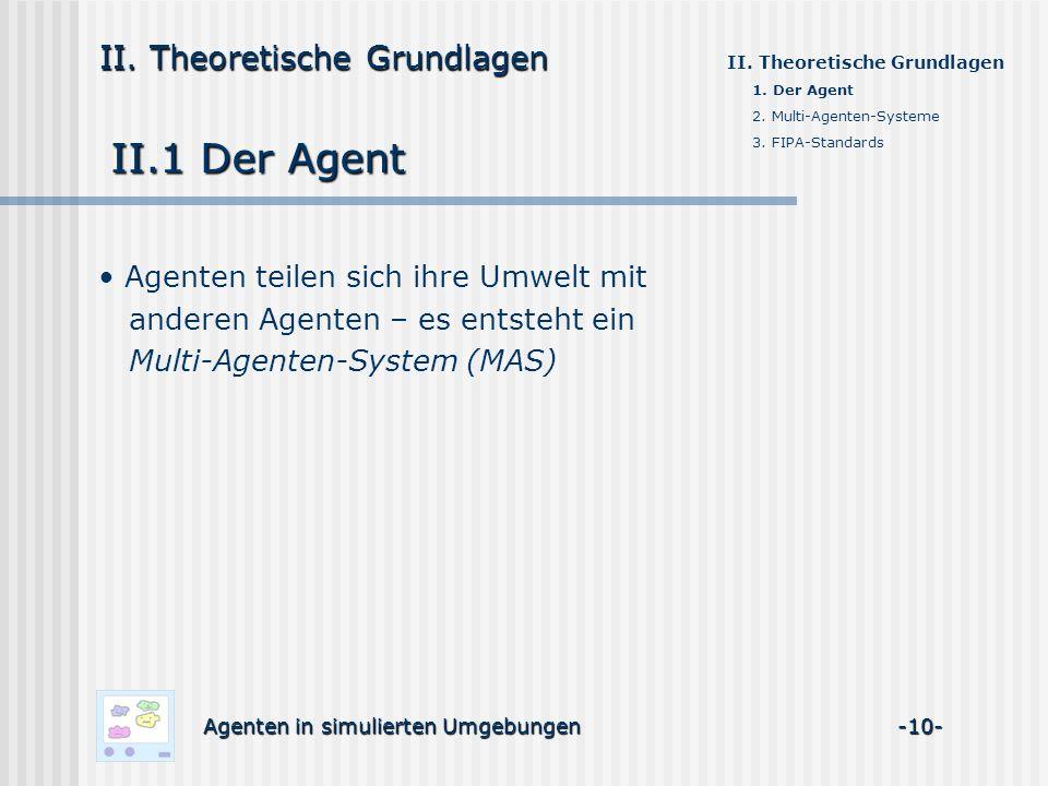 II.1 Der Agent Agenten in simulierten Umgebungen -10- II. Theoretische Grundlagen Agenten teilen sich ihre Umwelt mit anderen Agenten – es entsteht ei