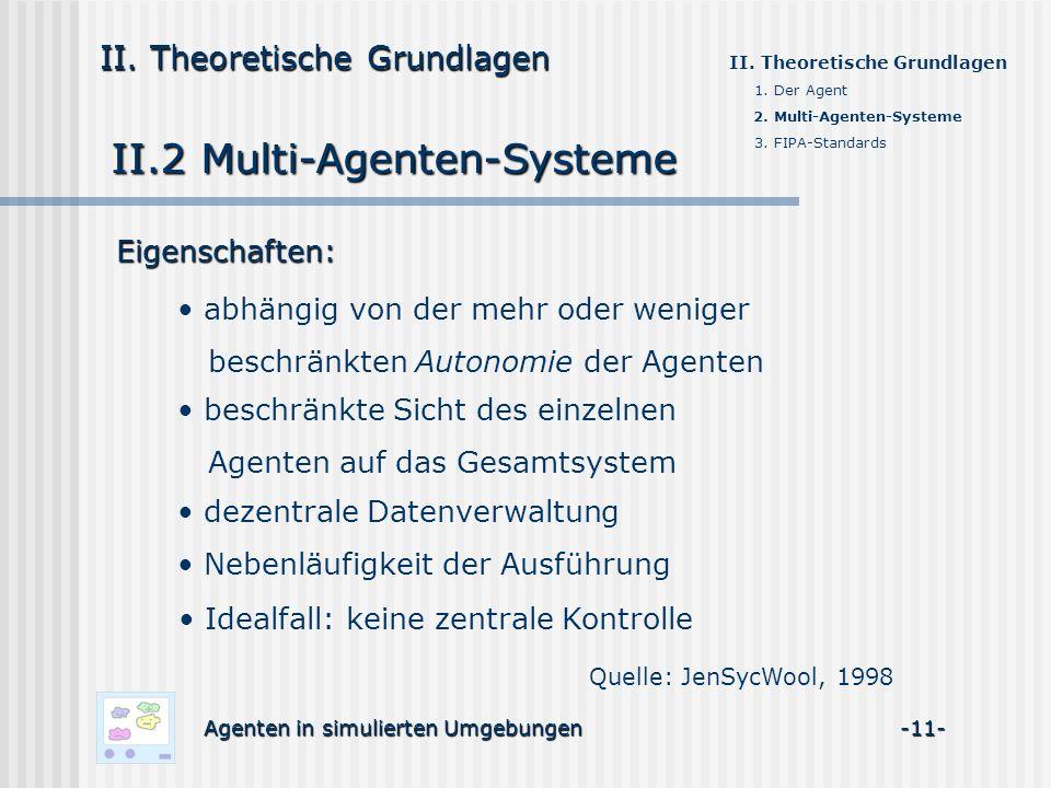 II.2 Multi-Agenten-Systeme Agenten in simulierten Umgebungen -11- II. Theoretische Grundlagen 1. Der Agent 2. Multi-Agenten-Systeme 3. FIPA-Standards