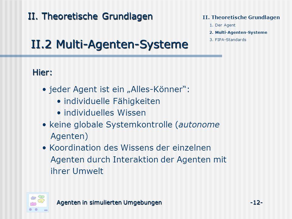 II.2 Multi-Agenten-Systeme Agenten in simulierten Umgebungen -12- II. Theoretische Grundlagen 1. Der Agent 2. Multi-Agenten-Systeme 3. FIPA-Standards