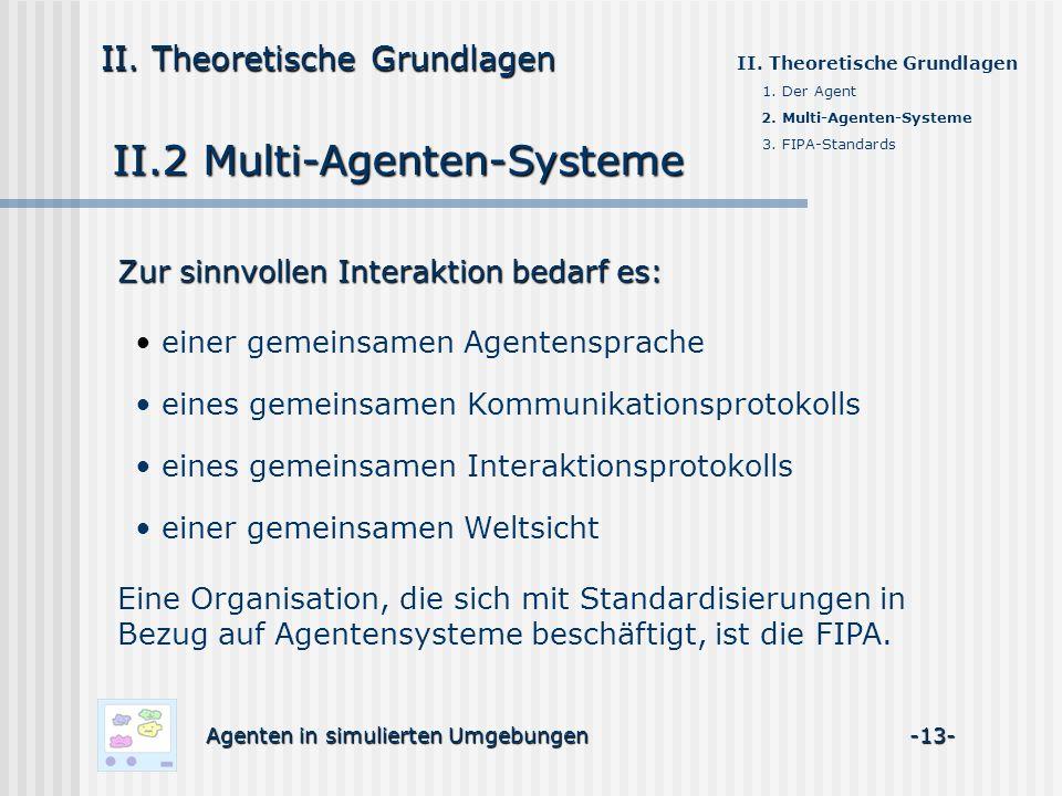 II.2 Multi-Agenten-Systeme Agenten in simulierten Umgebungen -13- II. Theoretische Grundlagen 1. Der Agent 2. Multi-Agenten-Systeme 3. FIPA-Standards