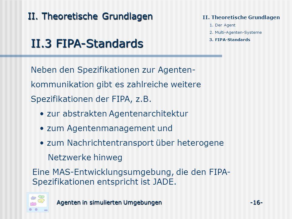 II.3 FIPA-Standards Agenten in simulierten Umgebungen -16- II. Theoretische Grundlagen 1. Der Agent 2. Multi-Agenten-Systeme 3. FIPA-Standards Neben d