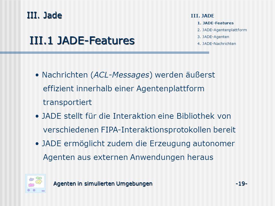 III.1 JADE-Features Agenten in simulierten Umgebungen -19- III. Jade III. JADE 1. JADE-Features 2. JADE-Agentenplattform 3. JADE-Agenten 4. JADE-Nachr
