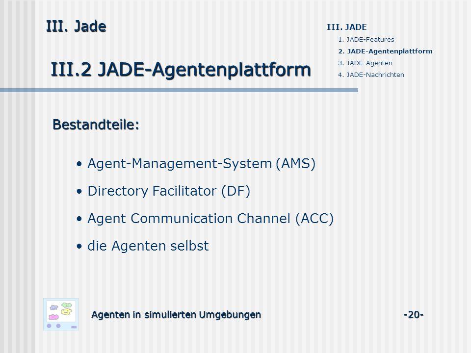 III.2 JADE-Agentenplattform Agenten in simulierten Umgebungen -20- III. Jade III. JADE 1. JADE-Features 2. JADE-Agentenplattform 3. JADE-Agenten 4. JA