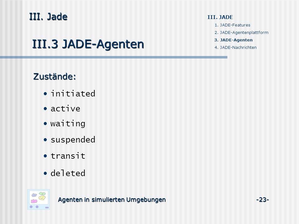 III.3 JADE-Agenten Agenten in simulierten Umgebungen -23- III. Jade III. JADE 1. JADE-Features 2. JADE-Agentenplattform 3. JADE-Agenten 4. JADE-Nachri