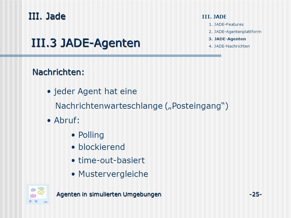 III.3 JADE-Agenten Agenten in simulierten Umgebungen -25- III. Jade III. JADE 1. JADE-Features 2. JADE-Agentenplattform 3. JADE-Agenten 4. JADE-Nachri