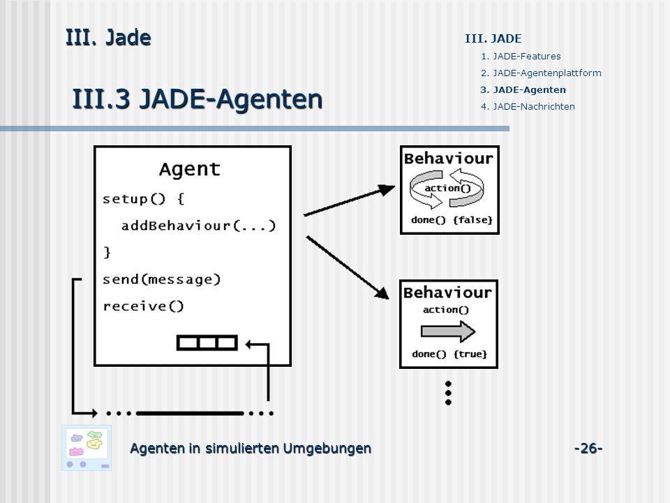 III.3 JADE-Agenten Agenten in simulierten Umgebungen -26- III. Jade III. JADE 1. JADE-Features 2. JADE-Agentenplattform 3. JADE-Agenten 4. JADE-Nachri