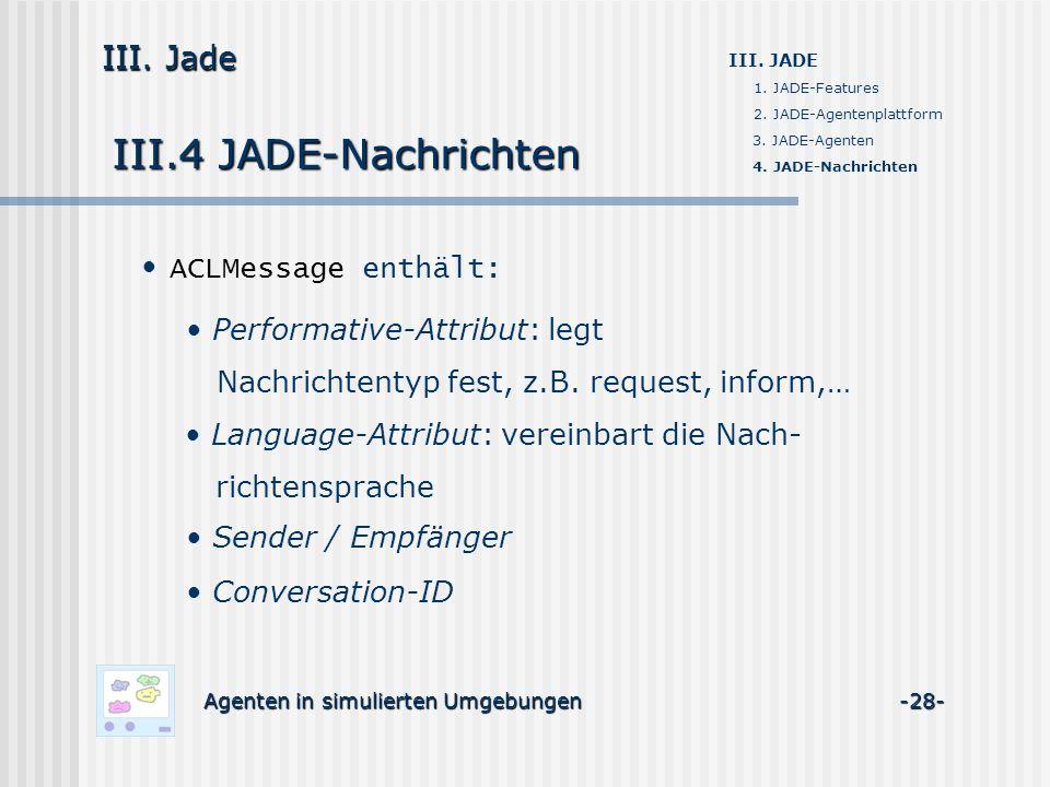 III.4 JADE-Nachrichten Agenten in simulierten Umgebungen -28- III. Jade III. JADE 1. JADE-Features 2. JADE-Agentenplattform 3. JADE-Agenten 4. JADE-Na