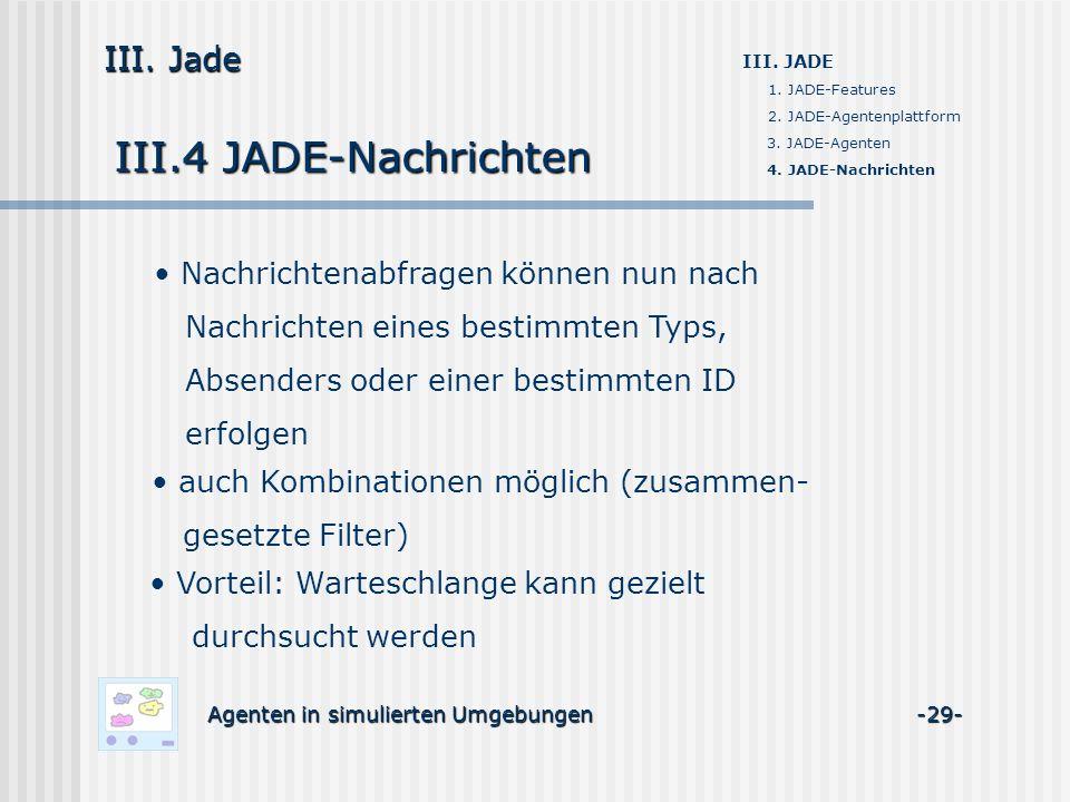 III.4 JADE-Nachrichten Agenten in simulierten Umgebungen -29- III. Jade III. JADE 1. JADE-Features 2. JADE-Agentenplattform 3. JADE-Agenten 4. JADE-Na