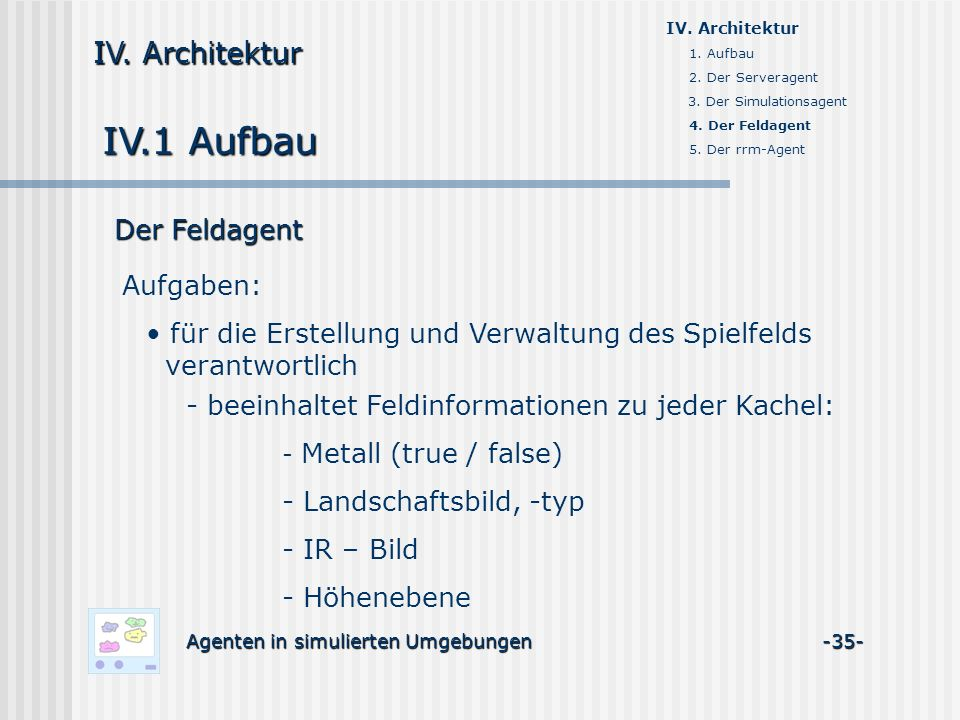 IV.1 Aufbau Agenten in simulierten Umgebungen -35- IV. Architektur 1. Aufbau 2. Der Serveragent 3. Der Simulationsagent 4. Der Feldagent 5. Der rrm-Ag