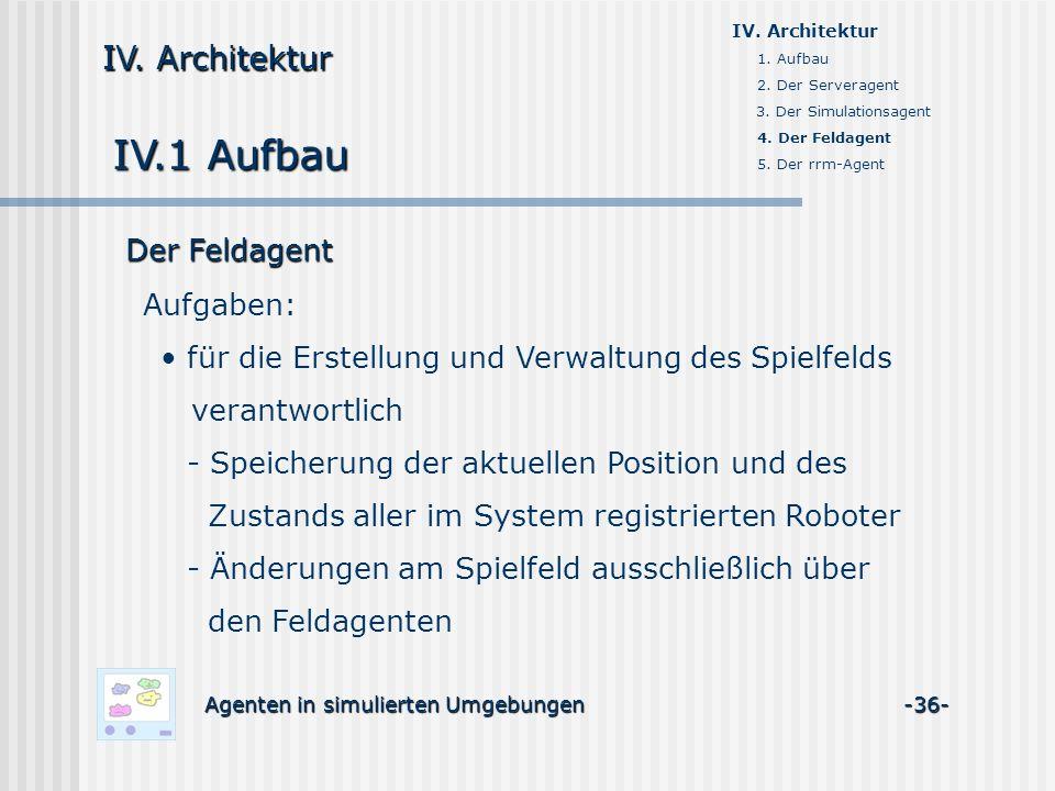 IV.1 Aufbau Agenten in simulierten Umgebungen -36- IV. Architektur 1. Aufbau 2. Der Serveragent 3. Der Simulationsagent 4. Der Feldagent 5. Der rrm-Ag