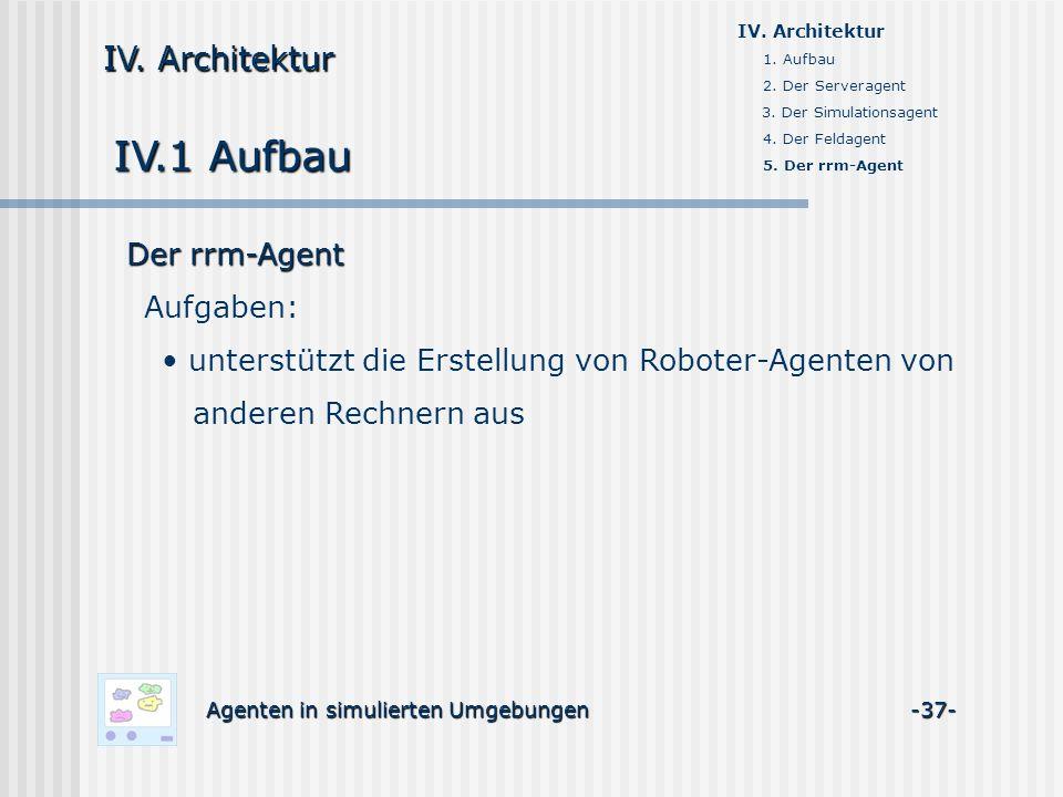 IV.1 Aufbau Agenten in simulierten Umgebungen -37- IV. Architektur 1. Aufbau 2. Der Serveragent 3. Der Simulationsagent 4. Der Feldagent 5. Der rrm-Ag
