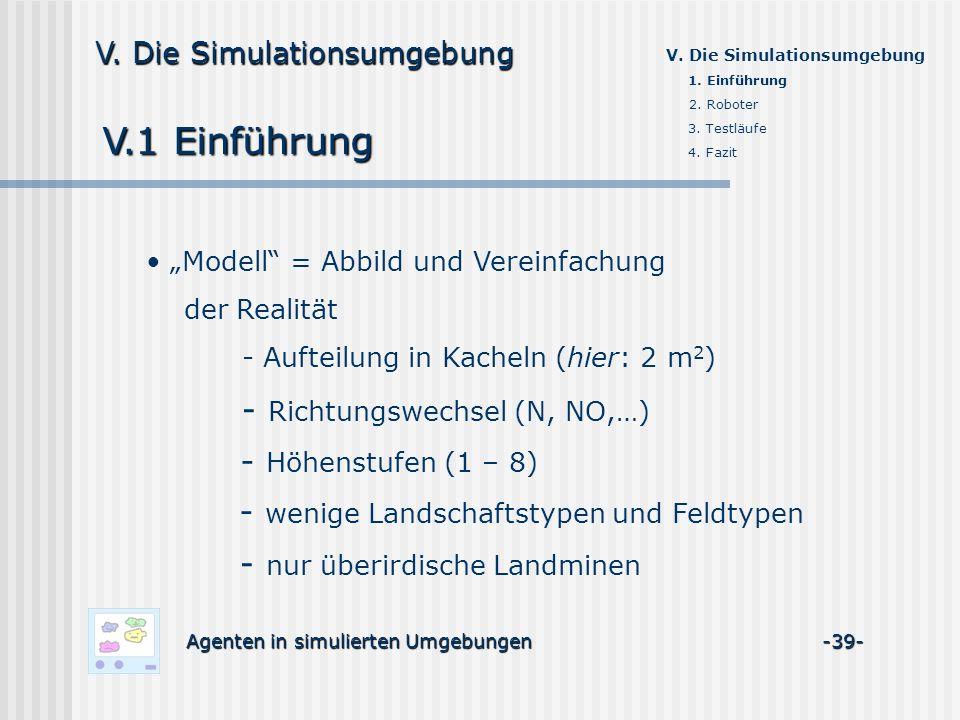 V.1 Einführung Agenten in simulierten Umgebungen -39- V. Die Simulationsumgebung 1. Einführung 2. Roboter 3. Testläufe 4. Fazit Modell = Abbild und Ve