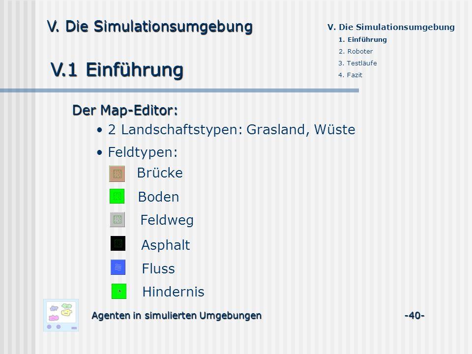 V.1 Einführung Agenten in simulierten Umgebungen -40- V. Die Simulationsumgebung Der Map-Editor: 2 Landschaftstypen: Grasland, Wüste Boden Feldweg Asp