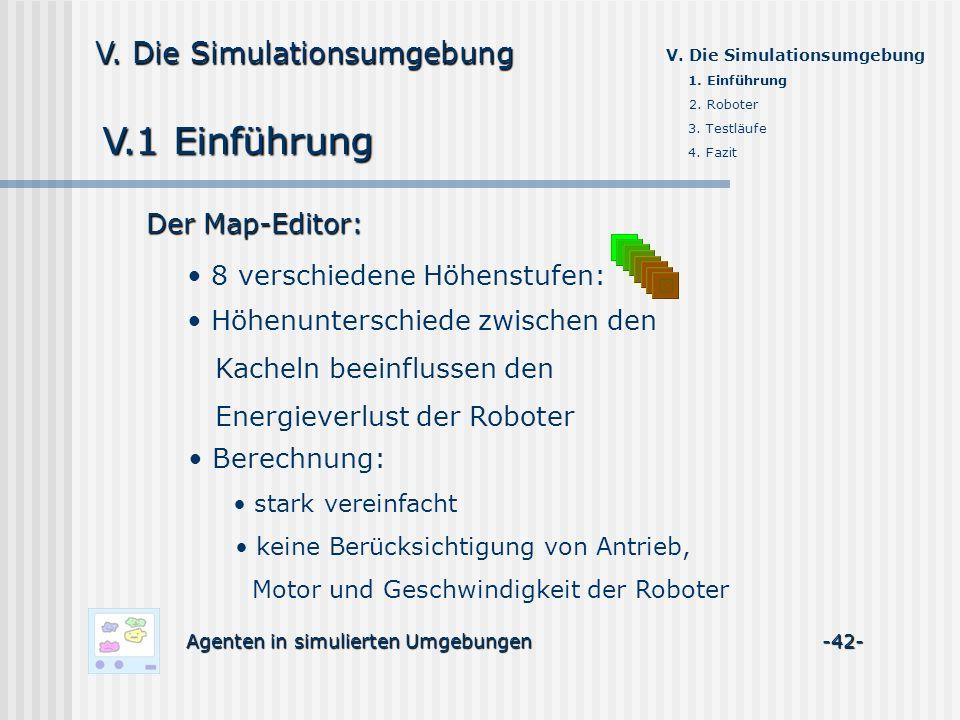 V.1 Einführung Agenten in simulierten Umgebungen -42- V. Die Simulationsumgebung Der Map-Editor: 8 verschiedene Höhenstufen: Höhenunterschiede zwische