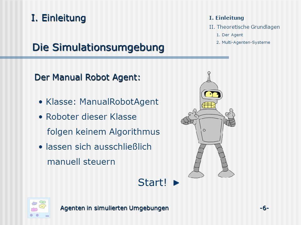 Der Manual Robot Agent: I. Einleitung Die Simulationsumgebung I. Einleitung II. Theoretische Grundlagen 1. Der Agent 2. Multi-Agenten-Systeme Start! K