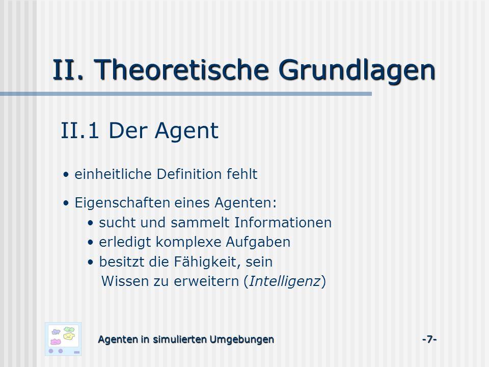 II. Theoretische Grundlagen II.1 Der Agent einheitliche Definition fehlt Agenten in simulierten Umgebungen -7- Eigenschaften eines Agenten: sucht und