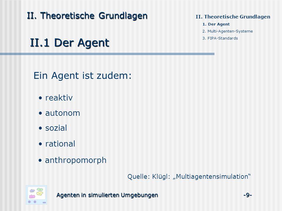 II.1 Der Agent Agenten in simulierten Umgebungen -9- II. Theoretische Grundlagen 1. Der Agent 2. Multi-Agenten-Systeme 3. FIPA-Standards Ein Agent ist