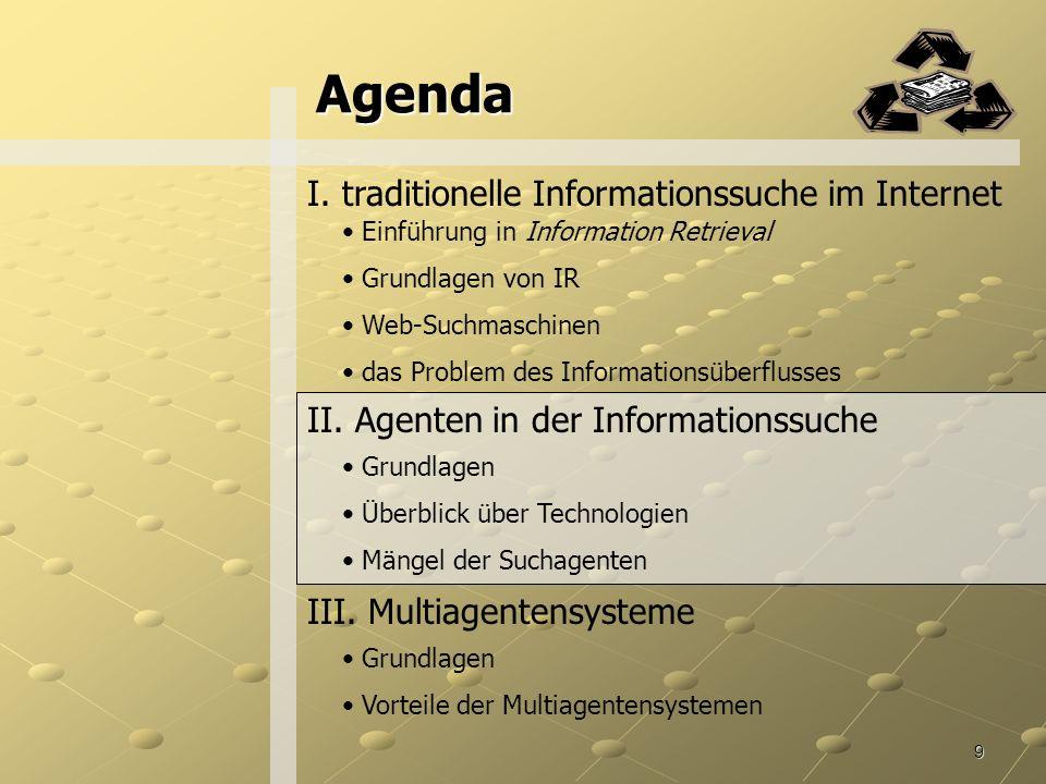 9 Agenda I.traditionelle Informationssuche im Internet II.