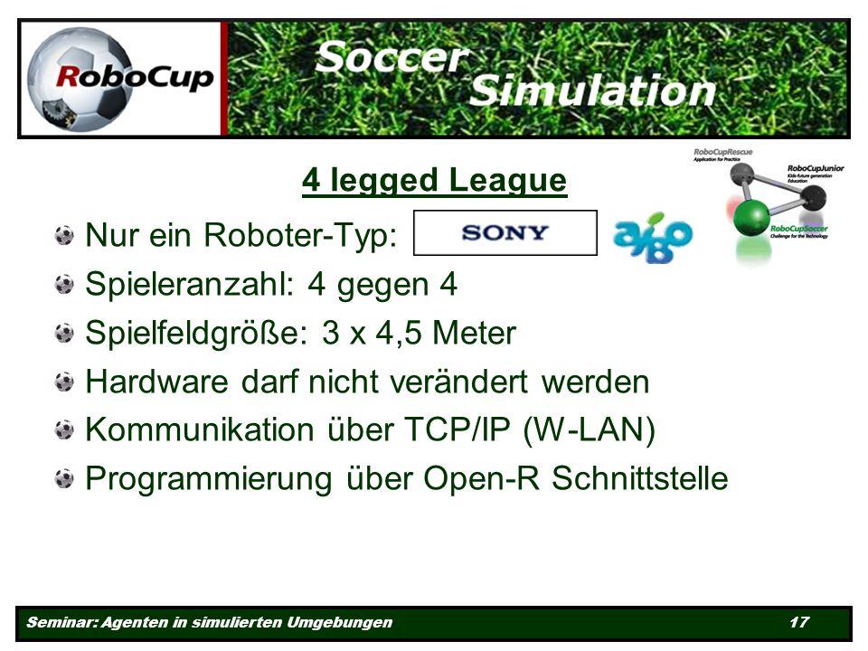 Seminar: Agenten in simulierten Umgebungen 17 4 legged League Nur ein Roboter-Typ: Spieleranzahl: 4 gegen 4 Spielfeldgröße: 3 x 4,5 Meter Hardware darf nicht verändert werden Kommunikation über TCP/IP (W-LAN) Programmierung über Open-R Schnittstelle
