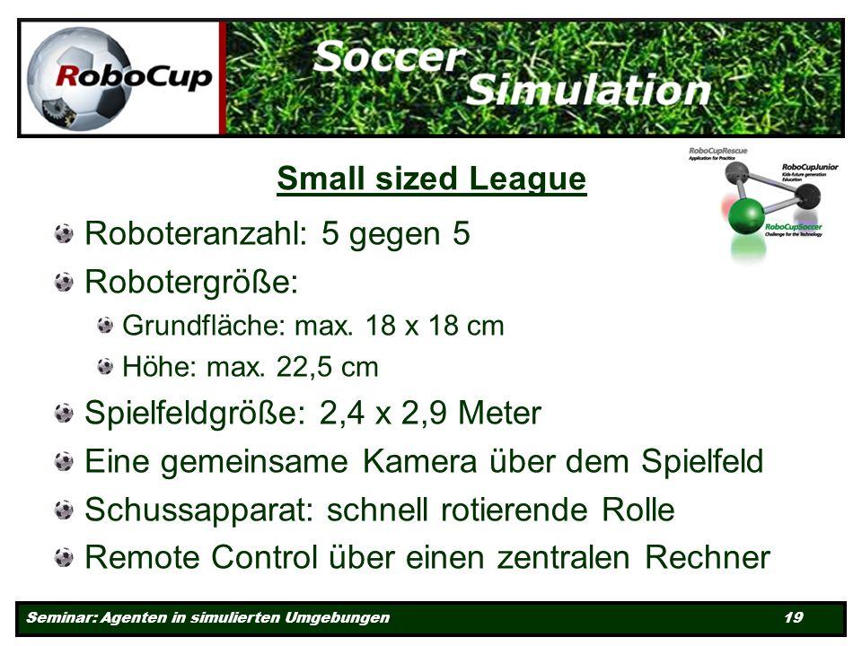 Seminar: Agenten in simulierten Umgebungen 19 Small sized League Roboteranzahl: 5 gegen 5 Robotergröße: Grundfläche: max.