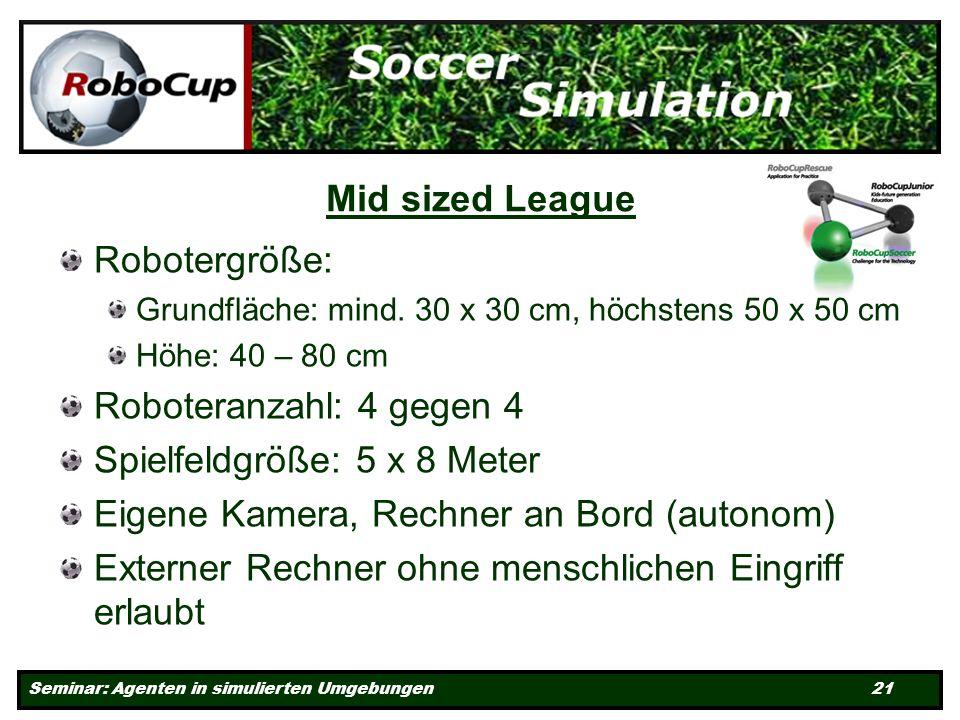 Seminar: Agenten in simulierten Umgebungen 21 Mid sized League Robotergröße: Grundfläche: mind.