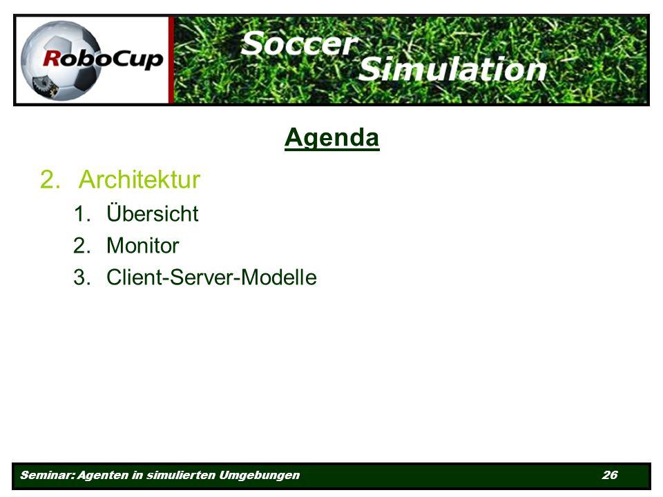 Seminar: Agenten in simulierten Umgebungen 26 Agenda 2.Architektur 1.Übersicht 2.Monitor 3.Client-Server-Modelle