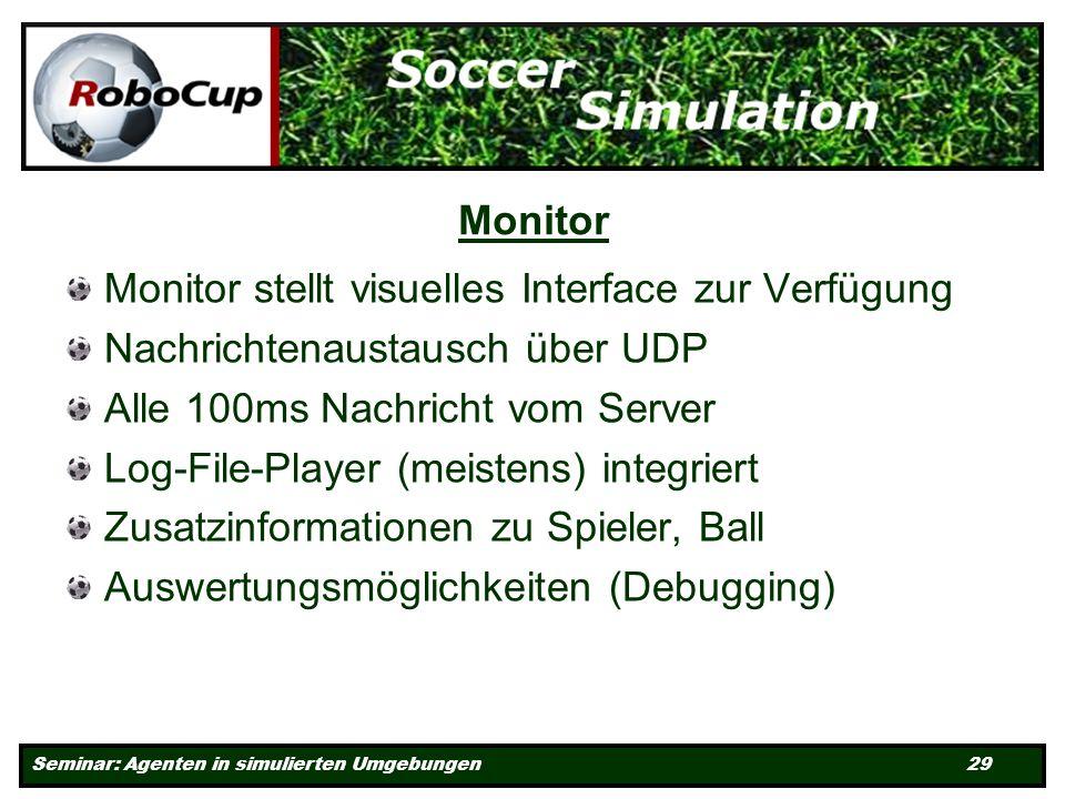 Seminar: Agenten in simulierten Umgebungen 29 Monitor Monitor stellt visuelles Interface zur Verfügung Nachrichtenaustausch über UDP Alle 100ms Nachricht vom Server Log-File-Player (meistens) integriert Zusatzinformationen zu Spieler, Ball Auswertungsmöglichkeiten (Debugging)