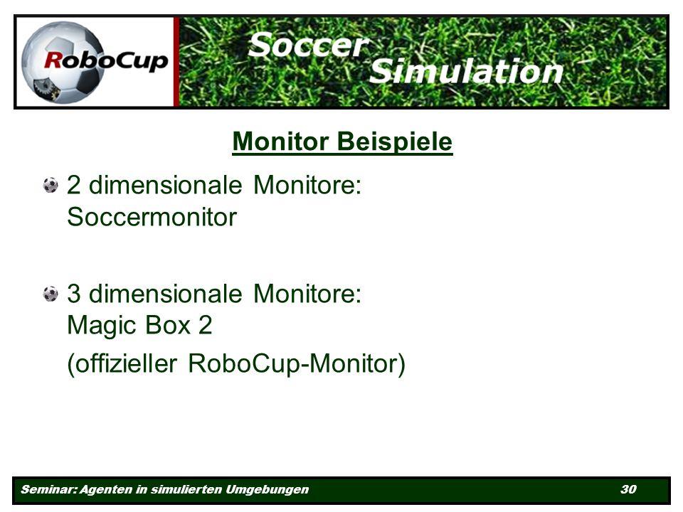 Seminar: Agenten in simulierten Umgebungen 30 Monitor Beispiele 2 dimensionale Monitore: Soccermonitor 3 dimensionale Monitore: Magic Box 2 (offizieller RoboCup-Monitor)