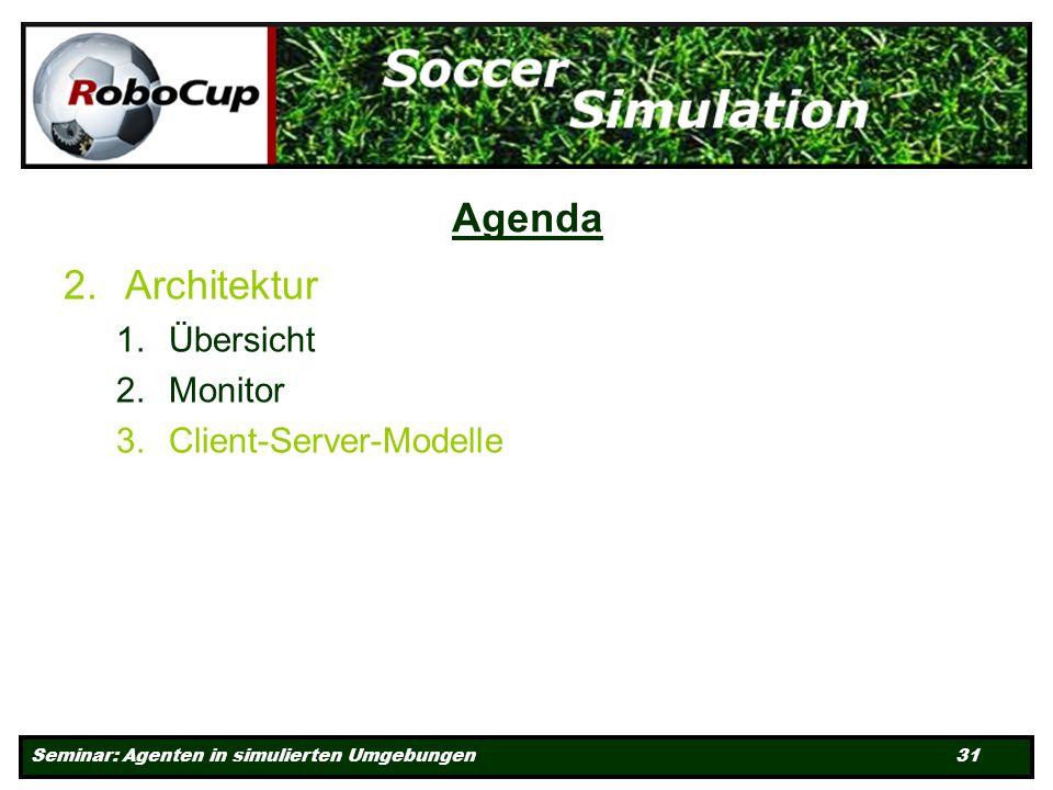 Seminar: Agenten in simulierten Umgebungen 31 Agenda 2.Architektur 1.Übersicht 2.Monitor 3.Client-Server-Modelle