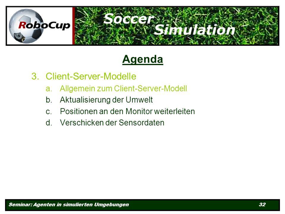 Seminar: Agenten in simulierten Umgebungen 32 Agenda 3.Client-Server-Modelle a.Allgemein zum Client-Server-Modell b.Aktualisierung der Umwelt c.Positionen an den Monitor weiterleiten d.Verschicken der Sensordaten