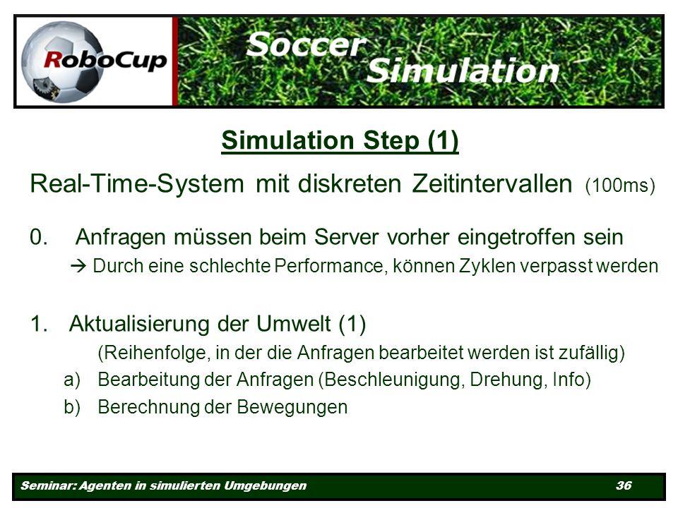 Seminar: Agenten in simulierten Umgebungen 36 Simulation Step (1) Real-Time-System mit diskreten Zeitintervallen (100ms) 0.