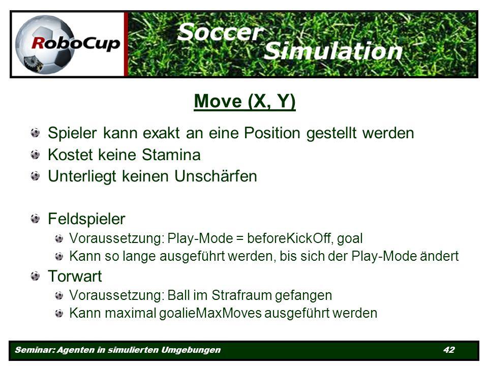 Seminar: Agenten in simulierten Umgebungen 42 Move (X, Y) Spieler kann exakt an eine Position gestellt werden Kostet keine Stamina Unterliegt keinen Unschärfen Feldspieler Voraussetzung: Play-Mode = beforeKickOff, goal Kann so lange ausgeführt werden, bis sich der Play-Mode ändert Torwart Voraussetzung: Ball im Strafraum gefangen Kann maximal goalieMaxMoves ausgeführt werden