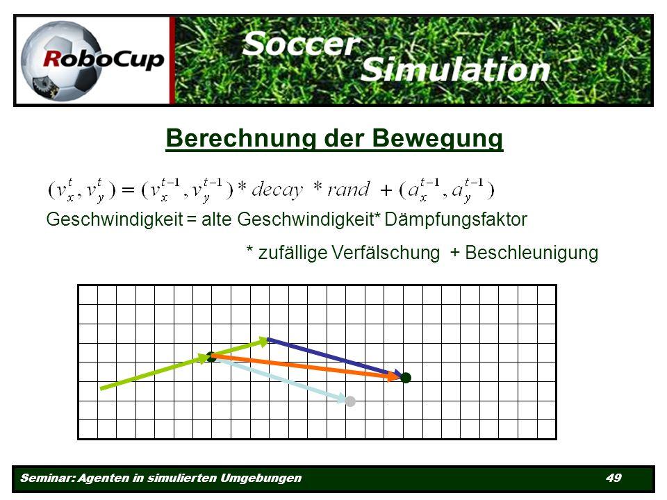 Seminar: Agenten in simulierten Umgebungen 49 Berechnung der Bewegung Geschwindigkeit = alte Geschwindigkeit* Dämpfungsfaktor * zufällige Verfälschung + Beschleunigung