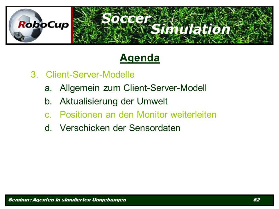 Seminar: Agenten in simulierten Umgebungen 52 Agenda 3.Client-Server-Modelle a.Allgemein zum Client-Server-Modell b.Aktualisierung der Umwelt c.Positionen an den Monitor weiterleiten d.Verschicken der Sensordaten