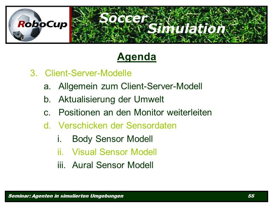 Seminar: Agenten in simulierten Umgebungen 55 Agenda 3.Client-Server-Modelle a.Allgemein zum Client-Server-Modell b.Aktualisierung der Umwelt c.Positionen an den Monitor weiterleiten d.Verschicken der Sensordaten i.Body Sensor Modell ii.Visual Sensor Modell iii.Aural Sensor Modell