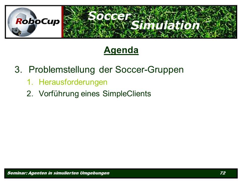 Seminar: Agenten in simulierten Umgebungen 72 Agenda 3.Problemstellung der Soccer-Gruppen 1.Herausforderungen 2.Vorführung eines SimpleClients