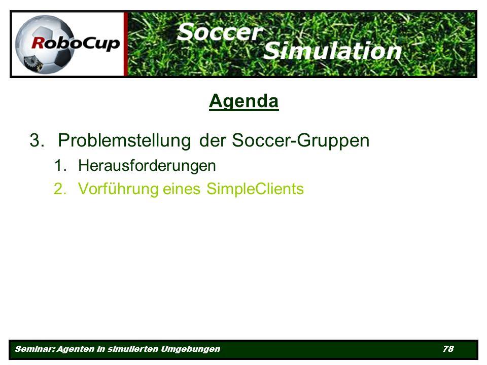 Seminar: Agenten in simulierten Umgebungen 78 Agenda 3.Problemstellung der Soccer-Gruppen 1.Herausforderungen 2.Vorführung eines SimpleClients