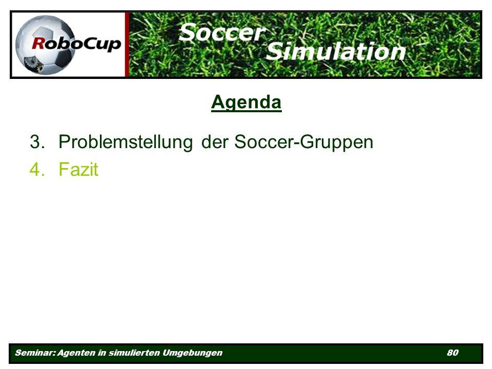 Seminar: Agenten in simulierten Umgebungen 80 Agenda 3.Problemstellung der Soccer-Gruppen 4.Fazit
