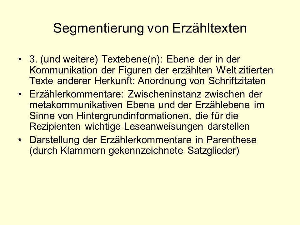 Segmentierung von Erzähltexten 3. (und weitere) Textebene(n): Ebene der in der Kommunikation der Figuren der erzählten Welt zitierten Texte anderer He