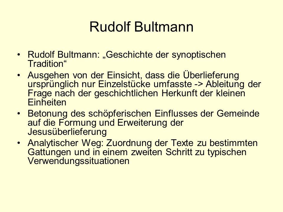 Rudolf Bultmann Rudolf Bultmann: Geschichte der synoptischen Tradition Ausgehen von der Einsicht, dass die Überlieferung ursprünglich nur Einzelstücke