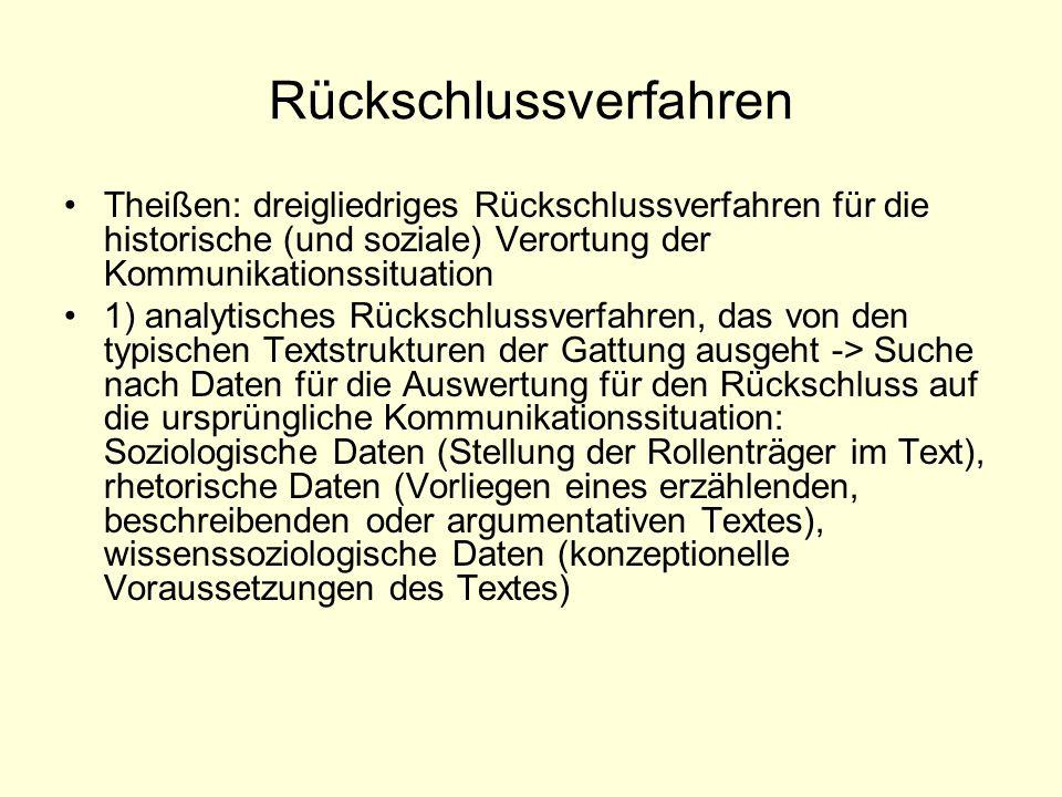 Rückschlussverfahren Theißen: dreigliedriges Rückschlussverfahren für die historische (und soziale) Verortung der Kommunikationssituation 1) analytisc