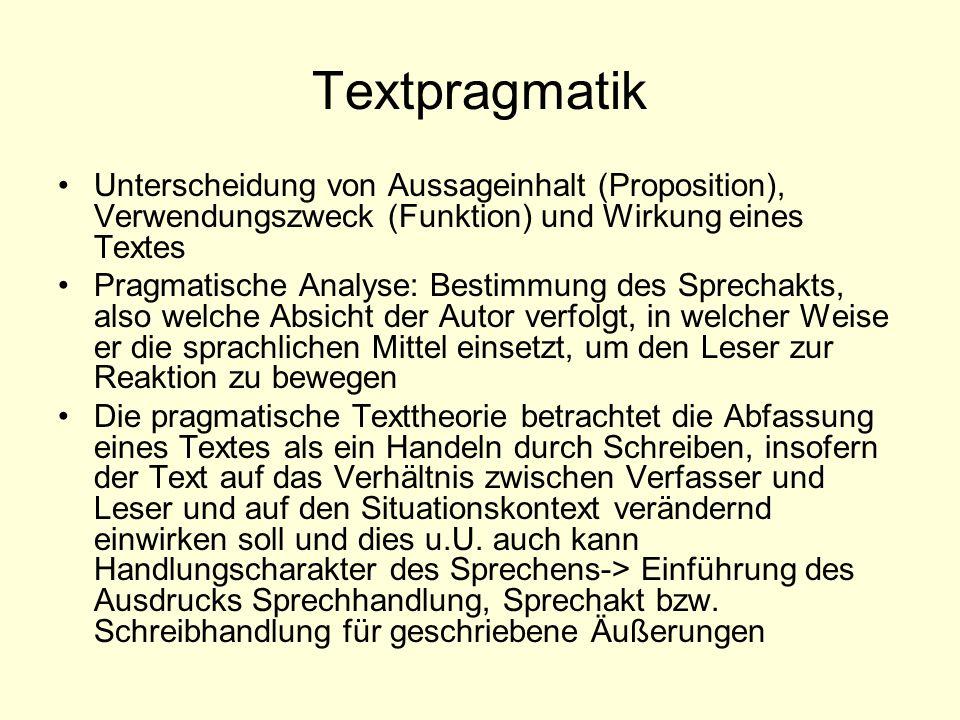 Textpragmatik Unterscheidung von Aussageinhalt (Proposition), Verwendungszweck (Funktion) und Wirkung eines Textes Pragmatische Analyse: Bestimmung de