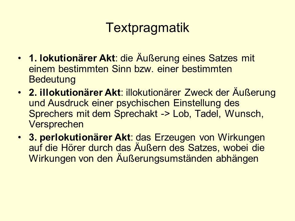 Textpragmatik 1. lokutionärer Akt: die Äußerung eines Satzes mit einem bestimmten Sinn bzw. einer bestimmten Bedeutung 2. illokutionärer Akt: illokuti
