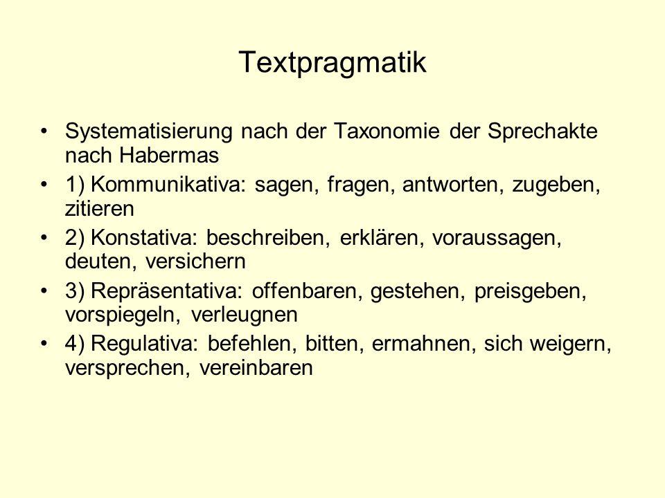 Textpragmatik Systematisierung nach der Taxonomie der Sprechakte nach Habermas 1) Kommunikativa: sagen, fragen, antworten, zugeben, zitieren 2) Konsta