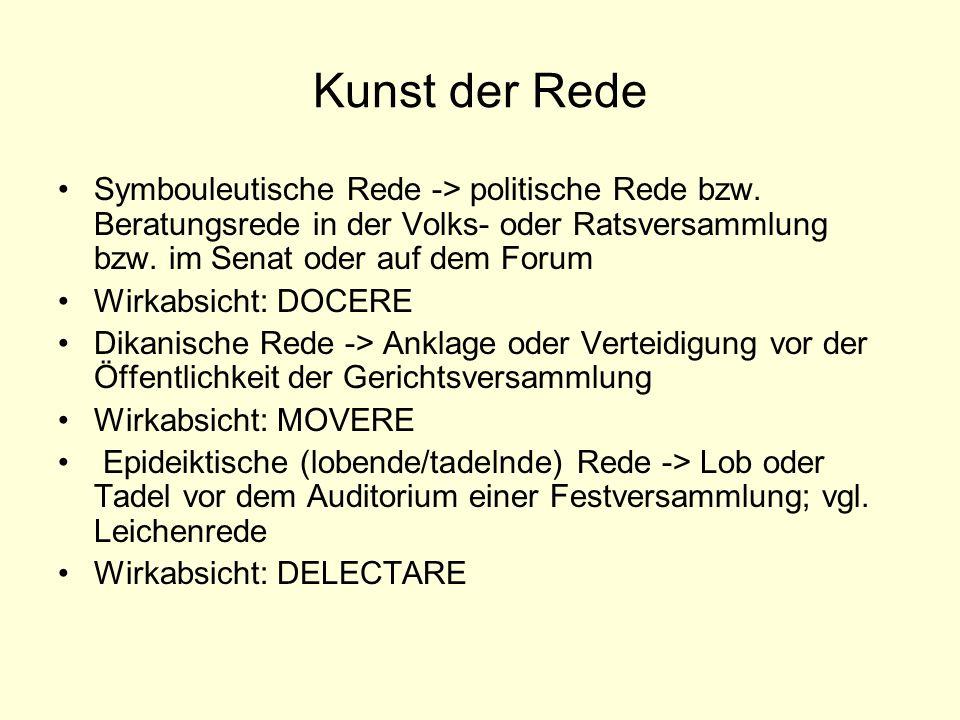 Kunst der Rede Symbouleutische Rede -> politische Rede bzw. Beratungsrede in der Volks- oder Ratsversammlung bzw. im Senat oder auf dem Forum Wirkabsi