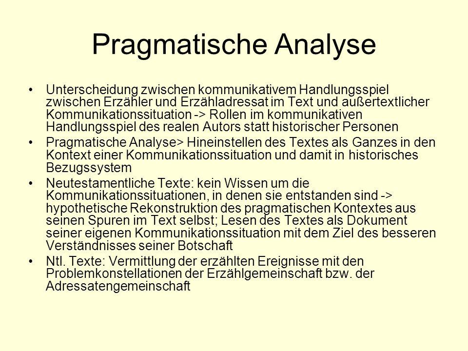 Pragmatische Analyse Unterscheidung zwischen kommunikativem Handlungsspiel zwischen Erzähler und Erzähladressat im Text und außertextlicher Kommunikat