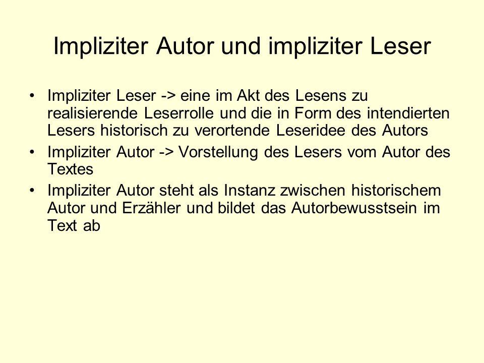Impliziter Autor und impliziter Leser Impliziter Leser -> eine im Akt des Lesens zu realisierende Leserrolle und die in Form des intendierten Lesers h